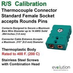 Thermocouple Connectors Standard Size Female Type RS