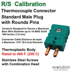 Thermocouple Connectors Standard Size Male Type RS