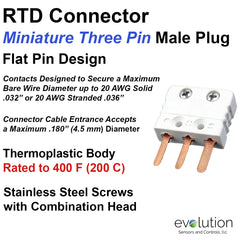 Miniature Male 3 Pin RTD Connector