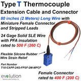 Type T Thermocouple Extension Cable with Miniature Female Connector and Stripped Leads