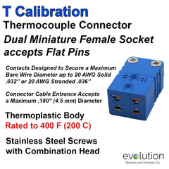 Thermocouple Connectors Miniature Duplex Female Type T