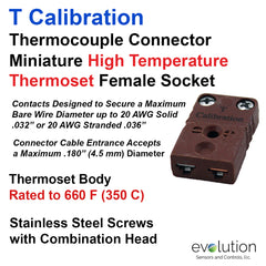 Thermocouple Connectors Miniature High Temperature Female Type T