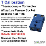 Thermocouple Connectors Miniature Female Type T