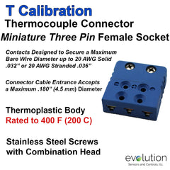 Thermocouple Connectors Miniature Three Pin Female Type T