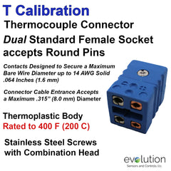 Thermocouple Connectors Standard Size Duplex Female Type T