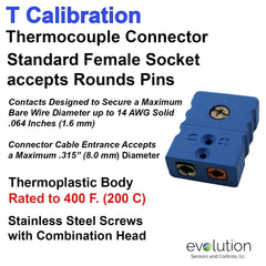 Thermocouple Connectors Standard Size Female Type T