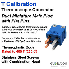 Thermocouple Connectors Miniature Duplex Male Type T