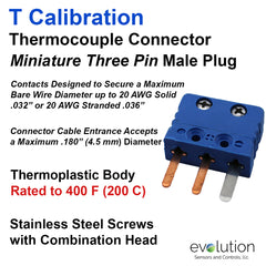Thermocouple Connectors Miniature Three Pin Male Type T