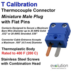 Type T Miniature Male Thermocouple Connector