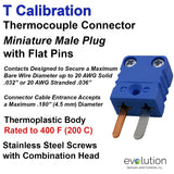 Miniature Male T Calibration Thermocouple Connector