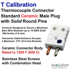 Thermocouple Connectors Standard Size Ceramic Male Solid Pins Type T