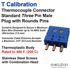 Thermocouple Connectors Standard Size Three Pin Male Type T