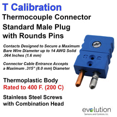 Standard Size Male Type T Thermocouple Connector