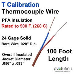 Type T Thermocouple Wire 24 Gage Solid PFA Insulation
