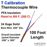 Thermocouple Wire Type T 24 Gage PFA Insulated 100 ft Long