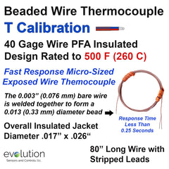 Thermocouple Beaded Wire Sensor - Type T 40 Gage PFA Insulated 80 inches long with Stripped Leads