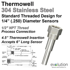 Thermowell 304 Stainless Steel 1/2 Male NPT with 4.5 inch insertion length