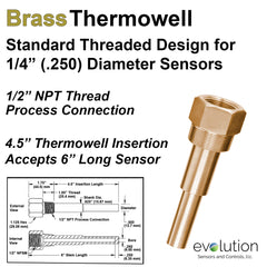 Thermowell Brass 1/2 Male NPT with 4.5 inch insertion length