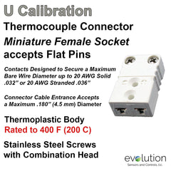 Thermocouple Connectors Miniature Female Type U
