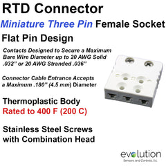 RTD Connector Miniature Three Pin Female