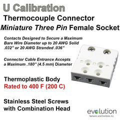 Thermocouple Connectors Miniature Three Pin Female Type U