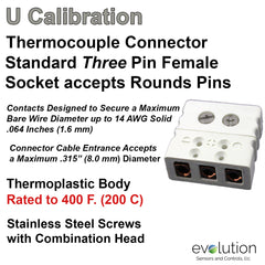 Thermocouple Connectors Standard Size Three Pin Female Type U