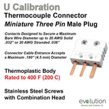 Thermocouple Connectors Miniature Three Pin Male Type U
