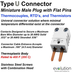 RTD Miniature Male 2 Pin Connector