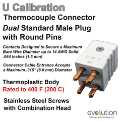 Thermocouple Connectors Standard Size Duplex Male Type U