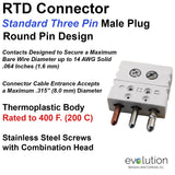 RTD Connector Standard 3 Pin Male