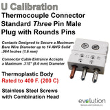 Thermocouple Connectors Standard Size Three Pin Male Type U