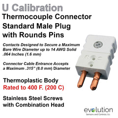 Thermocouple Connectors Standard Size Male Type U