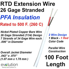RTD Wire 26 Gage Stranded 2-Wire Parallel Design PFA Insulated 100 ft Long