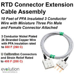 RTD Connector Extension Cable Assembly Mini 3 Pin Male - Female 10 ft Long Wire Leads