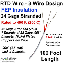 RTD Wire – 3 Wire Design 24 Gage Stranded with FEP Insulation - 100 ft Long