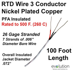 RTD Wire 3 Conductor 26 Gage Stranded PFA Insulated 100 ft Long