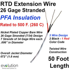 RTD Extension Wire 26 Gage Stranded 3-Wire Design PFA Insulated 50 ft Long