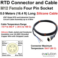 RTD M12 Connector and Extension Cable 5 Meters Long Silicone Insulation