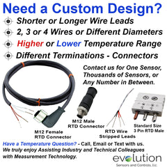 RTD M12 Connector Extension Cable Assembly Right Angle Custom Design