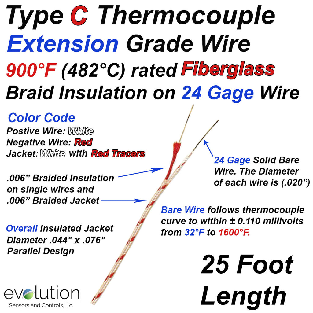 Type C Thermocouple Extension Wire Fiberglass Insulated 24 Gage Solid - 25 ft Long