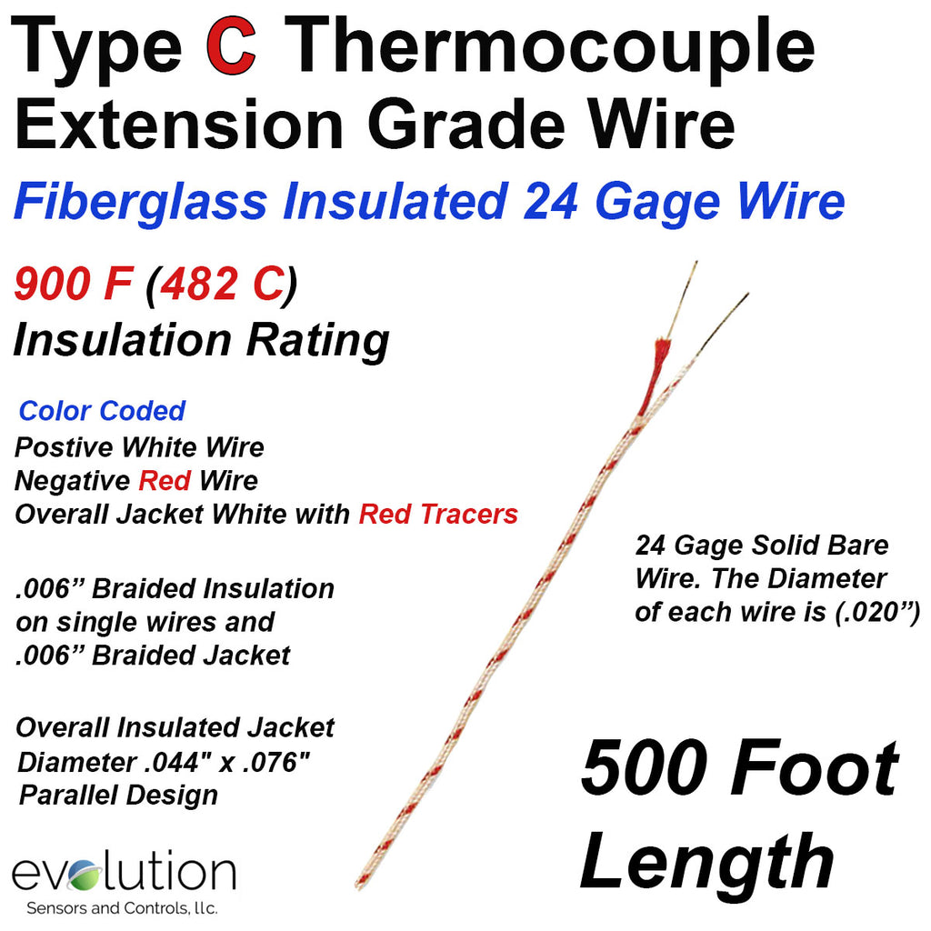 Fiberglass Insulated Type C Thermocouple Extension Wire 500 ft Long