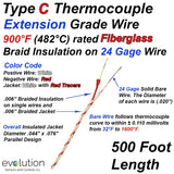 Type C Thermocouple Extension Wire Fiberglass Insulated 24 Gage Solid