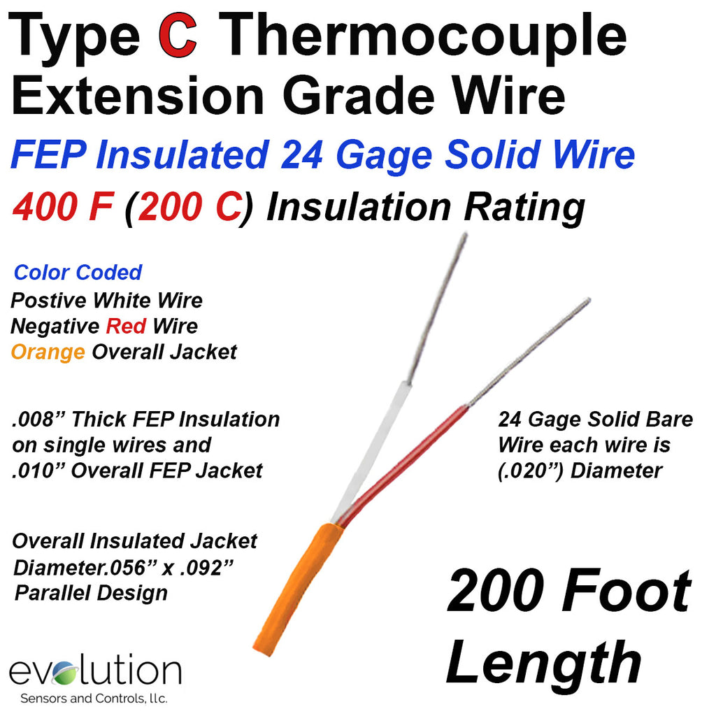 Type C Thermocouple Extension Wire | 24 Gage FEP Insulation 200 ft
