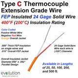 Type C Extension Grade Thermocouple Wire - 24 Gage Solid with FEP Insulation