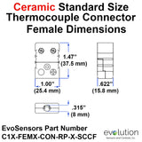 Type C Female Thermocouple Connector Dimensions