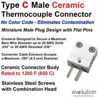 Type C Miniature Male Ceramic Thermocouple Connector - High Vacuum Design