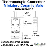 Miniature Male Ceramic Thermocouple Connector Dimensions Type C