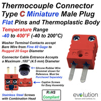 Type C Miniature Male Thermocouple Connector