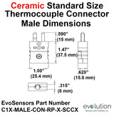 ype C Standard Size Ceramic Male Thermocouple Connector Dimensions
