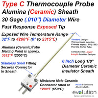 Type C Thermocouple 6 Inches Long with Miniature Ceramic Connector